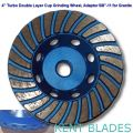 "4"" Turbo Double Row Cup Wheel Diamond Grit 30~40, Threaded 5/8""-11 Adapter Hole, For Granite"