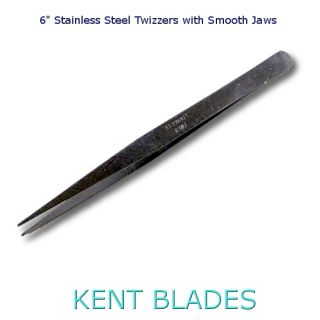 "6"" Stainless Steel Tweezers with Smooth Jaw Tips"