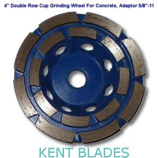 "4-inch Diamond Cup Grinding Wheel Double Row Grit 30~40, 5/8""-11 Threaded Arbor Hole, For Concrete"