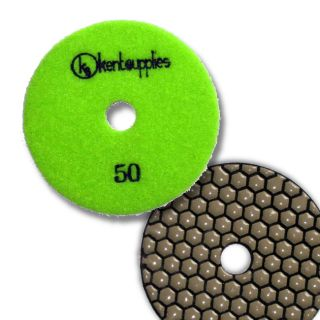 "KENT Premium Quality 4"" DRY Grit 50, 2mm Thick, Diamond Polishing Pad, Velcro Style For Granite Marble Onyx Stone"