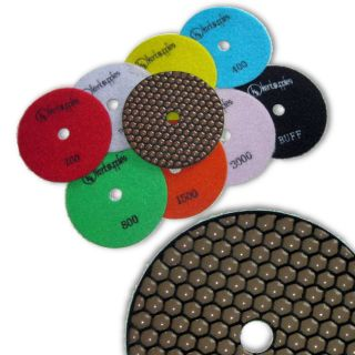 "KENT Premium Quality 9 pcs Set, 5"" Dry Polishing Pads, 2mm Thick, Assorted Grits, includes White Buff and Black Buff"