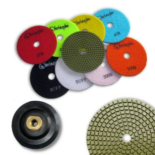 "KENT 10 pcs WET 5"" Premium Quality Assorted Grits 3mm Thick Diamond Polishing Pads, With White Buff, Black Buff and M14 Holder Pad, for Granite &amp"