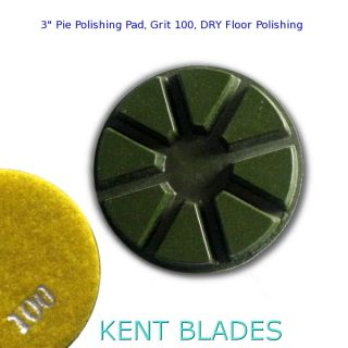 "3"" (80mm) Grit 100, Pie Polishing Pad, Dry Use, Velcro Type Backing"