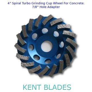 "4"" Spiral Turbo Grinding Cup Wheel, Diamond Grit 30, 7/8"" Plain NO-Thread Arbor Hole, For Concrete"
