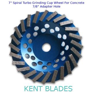 "7"" Spiral Turbo Grinding Cup Wheel Grit 30, 7/8"" Plain NO-Thread Adapter Hole, For Concrete"