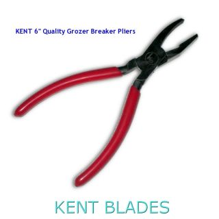 "KENT 6"" Quality Glass Grozer Breaker Pliers, Plastic Coated Handles"