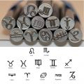 Kent 12pcs Set, 9.0mm Zodiac Symbols Precision Design Metal Punch Stamps