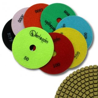 "KENT 8 pcs WET Standard Quality 5"" Assorted Grits 2.2mm Thick Diamond Polishing Pads, for Granite & Marble"