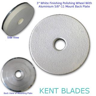 "3"" (75mm) Resin White Polishing Pad with 5/8""-11 Threaded Adapter Mount, For Stone Final Polishing"