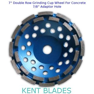 "7-inch Diamond Cup Grinding Wheel Double Row Grit 30~40, No-Thread 7/8"" Plain Adapter Hole, For Concrete"