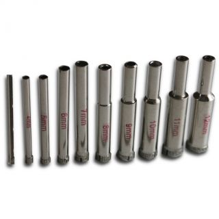 "10 Mixed Sizes Core Drill Bits, Diamond Coated 3mm to 12mm (1/8"" to 1/2"")"