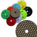 """KENT 9pcs Set 4""""DRY Premium Quality Diamond Polishing Pads, Assorted Grits, 2mm Thick, With Black And White Buff, Velcro Style For Granite Marble Onyx Stone"""