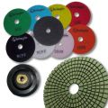 """KENT 10 pcs WET 4"""" Premium Quality Assorted Grits 3mm Thick Diamond Polishing Pads, With White Buff, Black Buff and M14 Holder Pad, for Granite &amp"""