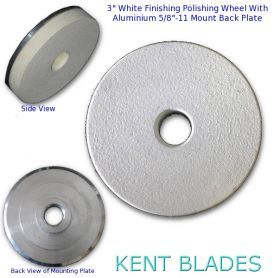 """3"""" (75mm) Resin White Polishing Pad with 5/8""""-11 Threaded Adapter Mount, For Stone Final Polishing"""