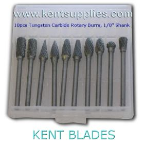 "10pcs Mix Kit Tungsten Carbide Rotary Burrs, 1/8"" Shank"