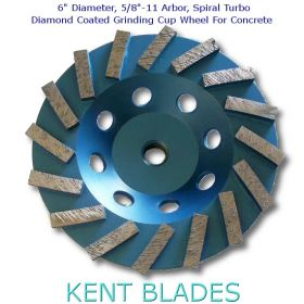 """6"""" Spiral Turbo Grinding Cup Wheel, Diamond Grit 30, 5/8""""-11 Threaded Arbor Hole, For Concrete"""