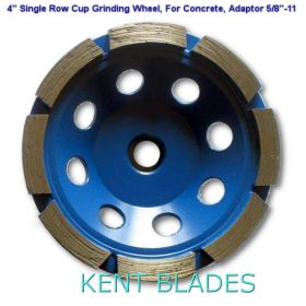 "4-inch Diamond Cup Grinding Wheel Single Row Grit 30~40, Threaded 5/8""-11 Adaptor Hole, For Concrete"