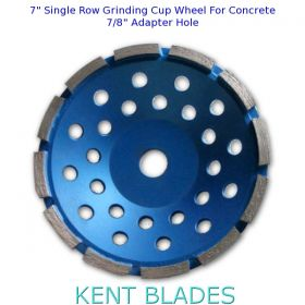 "7-inch Diamond Cup Grinding Wheel Single Row Grit 30~40, NO-Thread 7/8"" Plain Adaptor Hole, For Concrete"