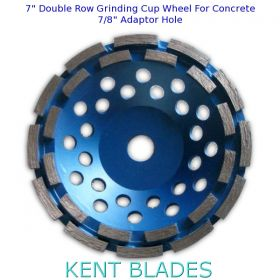 """7-inch Diamond Cup Grinding Wheel Double Row Grit 30~40, No-Thread 7/8"""" Plain Adapter Hole, For Concrete"""