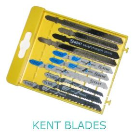 Kent 10 pcs Set, All Purpose T-Shank Jig Saw Kit Has Diamond , Carbide, Wood and Metal Blades